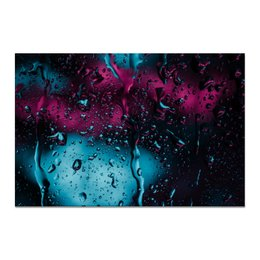 """Холст 20х30 """"Дождь"""" - город, дождь, cloudburst, через стекло, стекающие капли"""