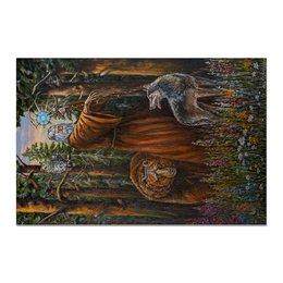 "Холст 20х30 ""ВЕЛЕС"" - медведь, лес, волк, арт фэнтези, славянский бог"