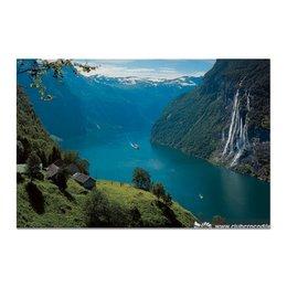 """Холст 20х30 """"Природа"""" - lake, mountains, waterfall, озеро, горы, водопад"""