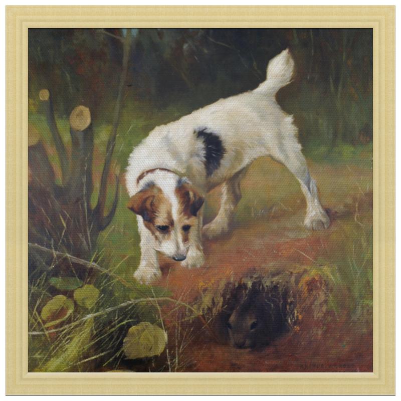 Холст 30x30 Printio 2018 год желтой земляной собаки цены онлайн