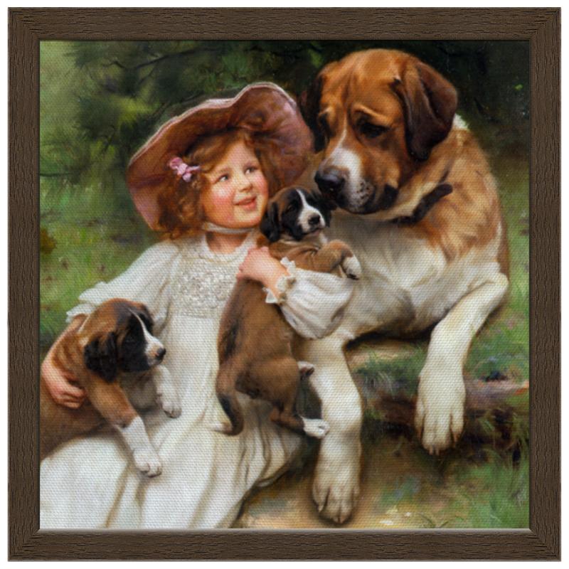 Холст 30x30 Printio Девочка, собака и щенята