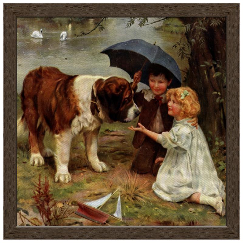 где купить Холст 30x30 Printio Мальчик и девочка с собакой по лучшей цене