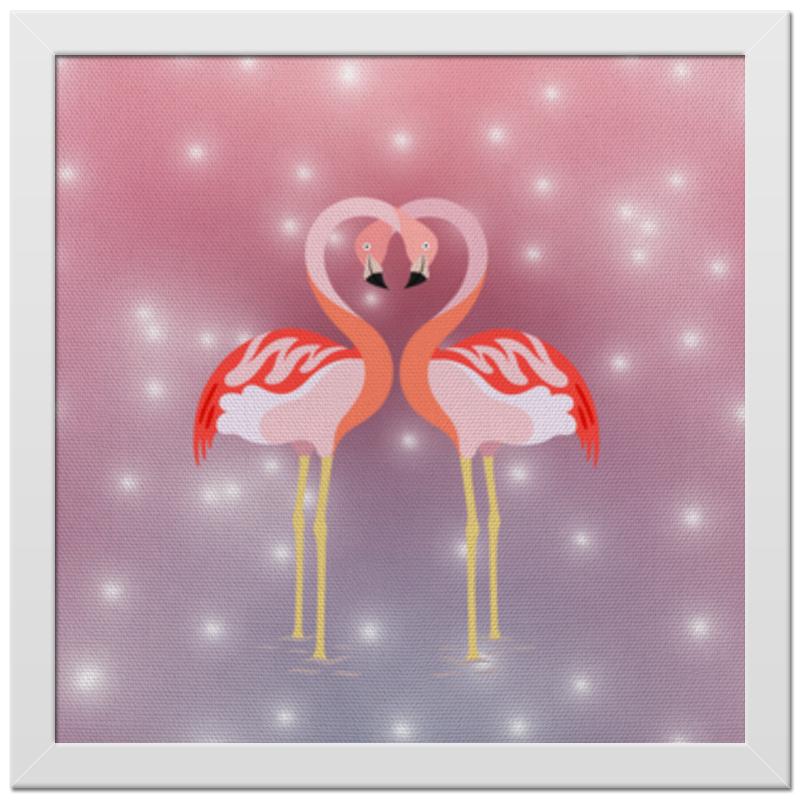 Printio Влюбленные фламинго холст 30x30 printio дом это там где твое сердце