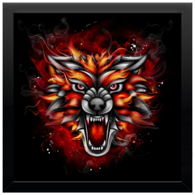 Холст 30x30 Printio Wolf & fire