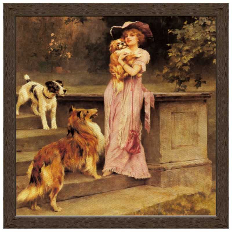 Холст 30x30 Printio Девушка с собаками репродукция ржавый рассвет 500х700мм холст