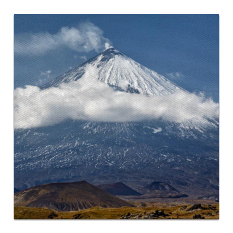 Холст 30x30 Printio Камчатка, осенний пейзаж, извержение вулкана