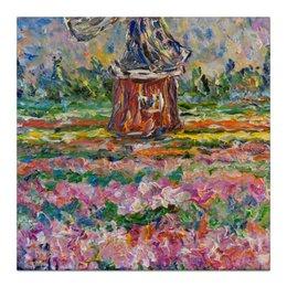 """Холст 30x30 """"Сказка"""" - flowers, тюльпаны, мельница, tulips, holland, голландия"""