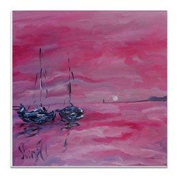 """Холст 30x30 """"розовый закат"""" - интерьер, художник, живопись, морское, на стену"""