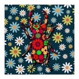 "Холст 30x30 ""Жичок"" - цветы, жук, природа, жучок"