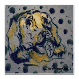 """Холст 30x30 """"Давай дружить"""" - собака, милота, в горошек, песик, добрые глаза"""