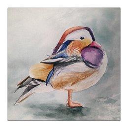 "Холст 30x30 ""Птичка"" - серый, бежевый, птица, перья, лиловый"