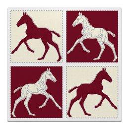 "Холст 30x30 ""Жеребята на красном и бежевом фоне"" - лошадь, графика, конь, жеребенок, кобыла"