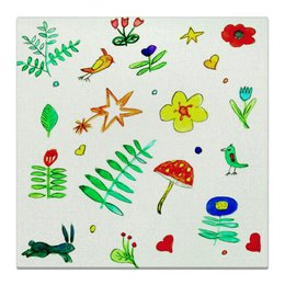 """Холст 30x30 """"Холст Финская тема"""" - птички, цветочки, середечки, звездочки"""