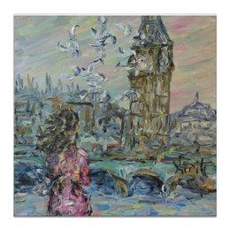 """Холст 30x30 """"Тауэр"""" - девушка, лондон, мост, big ben, тауэр"""