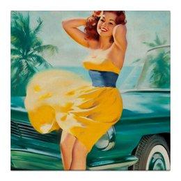 """Холст 30x30 """"Желтое платье"""" - арт, pin-up, пинап, summer, лето, ретро"""