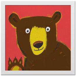 "Холст 30x30 ""Привет, Мишка! "" - мишка, рисунок, детская комната"