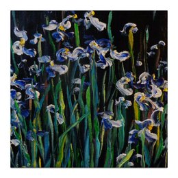 "Холст 30x30 ""Ирисы в ночи"" - night, ночь, сад, ирисы, трава"