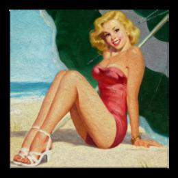 "Холст 30x30 ""Summer Time"" - лето, ретро, девушке, пляж, пинап"