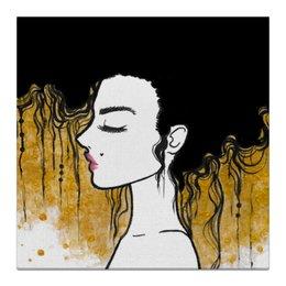 """Холст 30x30 """"Golden"""" - любовь, девушка, золотой, климт"""