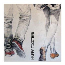 """Холст 30x30 """"Happy Together """" - любовь, 14 февраля, дом, вместе, день влюбленных"""