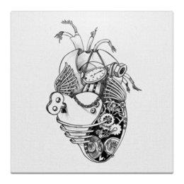 """Холст 30x30 """"Механическое сердце"""" - i love me, любовь, сердце, i love you, рисунок"""