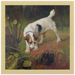 """Холст 30x30 """"2018 год Желтой Земляной Собаки"""" - новый год, картина, собака, 2018, артур вардль"""