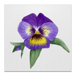 """Холст 30x30 """"Сиреневая Виола"""" - анютины глазки, картина с цветами, интерьерная картина, сиреневые цветы, акварельные цветы"""