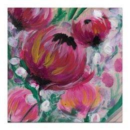"""Холст 30x30 """"Полевые цветы"""" - лето, цветы, весна, розовый, подарок"""