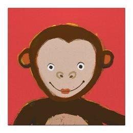 """Холст 30x30 """"Обезьянка"""" - рисунок, детям, обезьяна, детская комната, красный фон"""