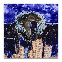 """Холст 30x30 """"Ночь над городом"""" - арт, лошадь, ночь, сюрреализм"""