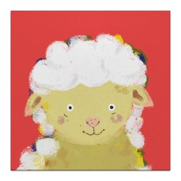"""Холст 30x30 """"Милая овечка!"""" - рисунок, баран, овца, детская комната, детская иллюстрация"""