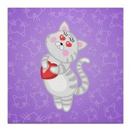 """Холст 30x30 """"Влюбленная кошечка"""" - сердце, любовь, кошка, фиолетовый"""