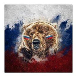 "Холст 30x30 ""Русский Медведь"" - футбол, медведь, россия, флаг, триколор"