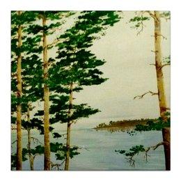 """Холст 30x30 """"На Днепре"""" - сосны, река, природа"""