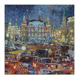 """Холст 30x30 """"Тверская ночью"""" - арт, москва, город, живопись"""