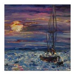 "Холст 30x30 ""Шум волн"" - море, красота, волны, sea, живопись, лодка, океан, sunset"