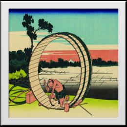 """Холст 30x30 """"Колесо"""" - горизонт, дерево, работник, гравюра, ремонт, колесо, окружность, холст"""