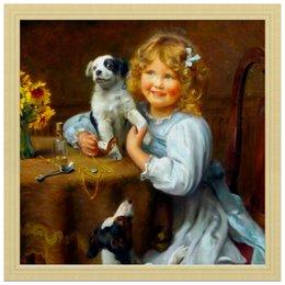 """Холст 30x30 """"Девочка с собакой и щенком"""" - картина, собака, день матери, 2018, артур элсли"""
