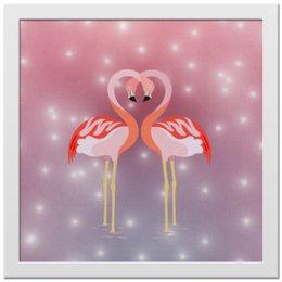 """Холст 30x30 """"Влюбленные фламинго"""" - любовь, фламинго"""