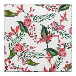 """Холст 30x30 """"Цветы на белом"""" - цветы, роза, листья, природа, пион"""