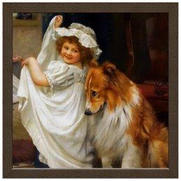 """Холст 30x30 """"Девочка с собакой"""" - собака, живопись, день матери, артур элсли"""