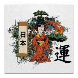 """Холст 30x30 """"Япония"""" - япония, гейша, иероглифы, токио, восточный"""
