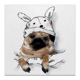 "Холст 30x30 ""Мопс в шапочке"" - заяц, пес, щенок, собака, мопс"