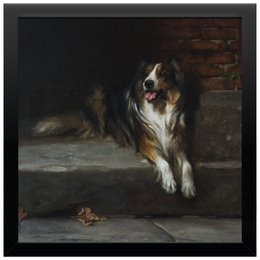 """Холст 30x30 """"Колли (картина Артура Вардля)"""" - картина, собака, артур вардль, колли, живопись"""