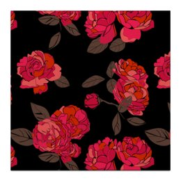 """Холст 30x30 """"Ночной розарий"""" - цветок, red, роза, розы"""