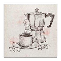 """Холст 30x30 """"Кофейник"""" - кофе, кофейник, чашка, кофейный, стиль"""