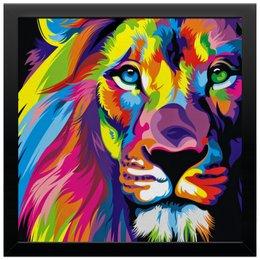 """Холст 30x30 """"Разноцветный лев"""" - лев, рисунок, хищник, животное, графика"""