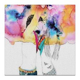 """Холст 30x30 """"Love """" - любовь, 14 февраля, дом, поцелуй, день влюбленных"""