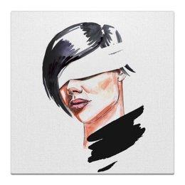 """Холст 30x30 """"Девушка с завязанными глазами"""" - арт, девушка, глаза, акварель, девушка с повязкой"""