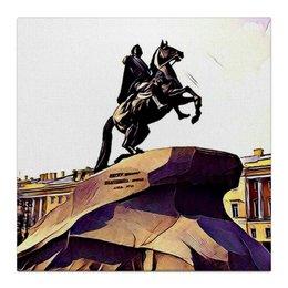 """Холст 30x30 """"Медный всадник"""" - санкт-петербург, медный всадник, петр первый"""
